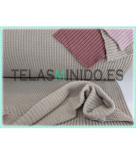 Punto jersey tricot taupe claro